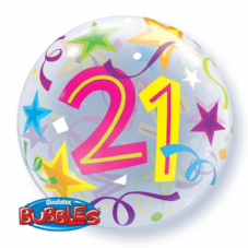 21st Brilliant Stars Bubble Balloon
